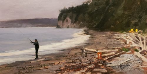 """""""Fishing at Lagoon Point"""" Whidbey Island landscape painting by Robin Weiss"""
