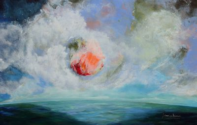 """Contemporary Abstract Seascape Painting """"The Next Great Thing"""" by International Contemporary Abstract Artist Arrachme"""
