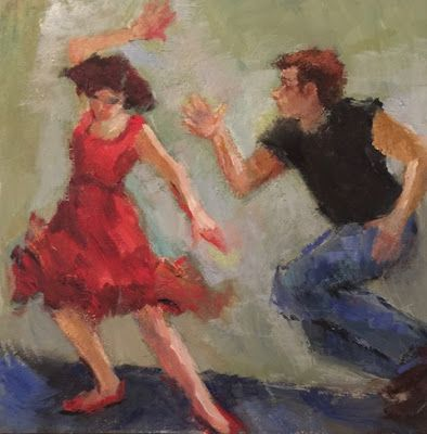 Jivin' Up a Storm - original figurative oil painting of jive dancers