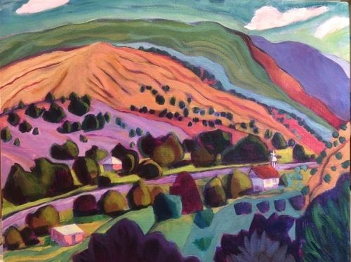"Contemporary Bold Expressive Landscape Painting ""MESAS-PENASCO NM"" by Santa Fe Artist Annie O'Brien Gonzales"