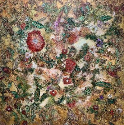 """Abstract Floral, Contemporary Art, Textured Painting,""""Kim's Garden"""" by Contemporary Artist Liz Thoresen"""