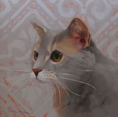 Silvia, painting of Diluted Calico on gray pattern