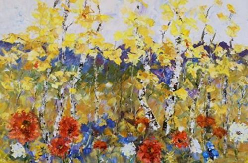 "Palette Knife Aspen , Poppy Landscape Painting ""Spring Territory"" by Colorado Impressionist Judith Babcock"