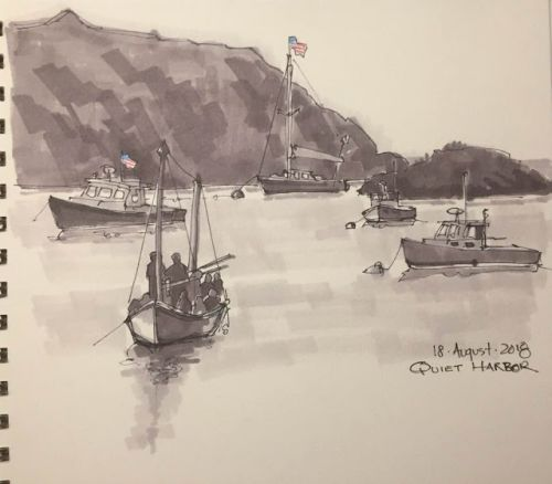 "Day 314 ""Quiet Harbor"" 6 x 9 ink, marker, pencils"