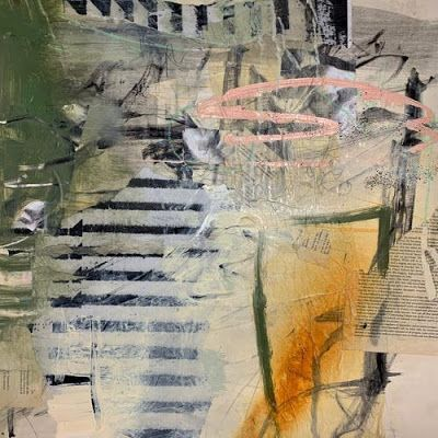 "Contemporary Mixed Media Painting ""Fence Climb"" by Intuitive Artist Joan Fullerton"