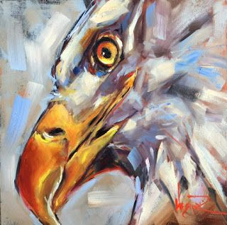 ORIGINAL CONTEMPORARY BALD EAGLE on Panel in OILS by OLGA WAGNER - SOLD