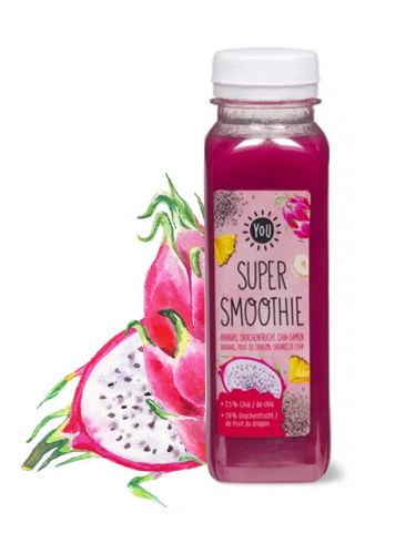 Dragon Fruit Smoothie Watercolor Illustration On Food Packaging