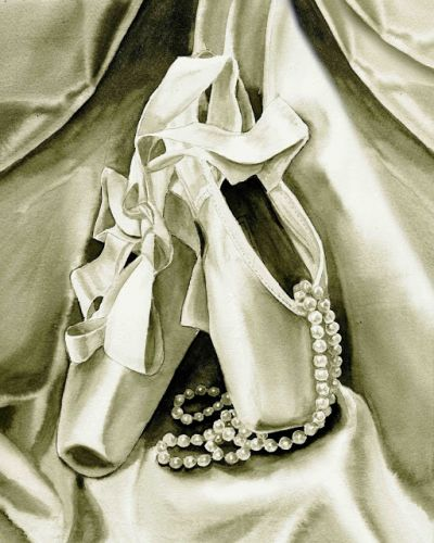 Watercolor Painting of Silver Ballet Slippers for a Beautiful Ballerina