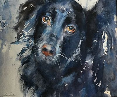 "Pet Portrait, Dog Painting,Contemporary Fine Art ""Mickey"" by Raleigh North Carolina Artist, Carolyn Zbavitel"