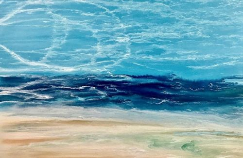 "Abstract Seascape Painting, Coastal Art, Contemporary Beach Art, ""Late Afternoon Surf"" by International Contemporary Landscape Artist Kimberly Conrad"
