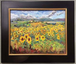 New Sunflower Palette Knife Painting by Contemporary Impressionist Niki Gulley