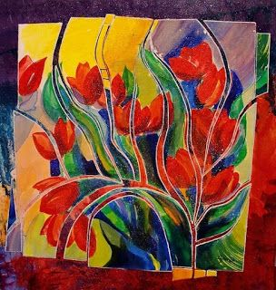 """Contemporary Tulip Flower Art Painting """"Tulip Fiesta"""" by Colorado Mixed Media Abstract Artist Carol Nelson"""