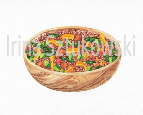 Watercolor Food Illustrations - Delicious Bowls With Veggies And Grains