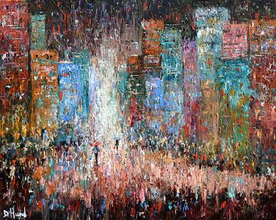 "Cityscape Art Street Scene Painting Red Textured Art, ""Rain Dance Reds"" by Debra Hurd"
