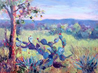 Cactus with a View, New Contemporary Landscape Painting by Sheri Jones