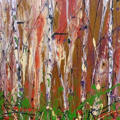 "Aspen Tree Painting, Contemporary Art, Abstract Landscape ""Enchanted Forest "" by International Contemporary Artist Kimberly Conrad"
