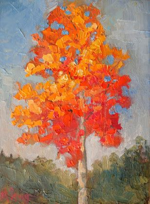Autumn Maple Tree Landscape Painting, Palette Knife Technique, Asheville Fall Foliage Art, Daily Painting, Small Oil Painting