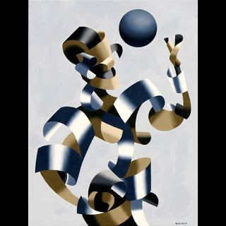Mark Webster - Man of the Future - Abstract Futurist Geometric Figurative Oil Painting