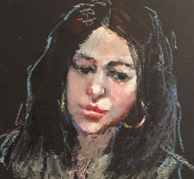 Drawing of the Model on Black Paper - original oil pastel portrait