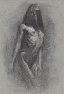 """""""Past midnight"""" standing female nude chalk drawing"""