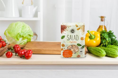 Watercolor Seeds And Grains On Salad Power Mix Packaging