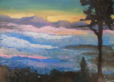 Small Landscape Painting, Blue Ridge Mountains, Daily Painting, Small Oil Painting, 6x8