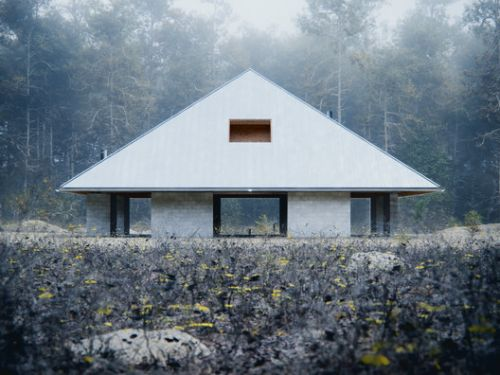 WOJR Explores Symmetry in Woodland Pyramid House