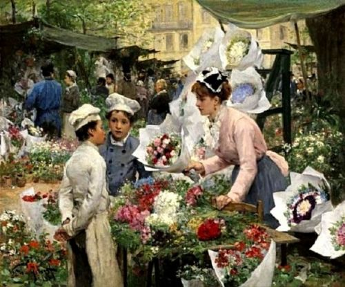 19C French Flower Sellers