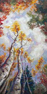 "New ""Sky High"" Palette Knife Aspen Tree Painting by Contemporary Impressionist Niki Gulley"