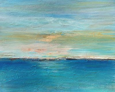 "Abstract Seascape Painting ""Illuminated"" by California Artist Cecelia Catherine Rappaport"