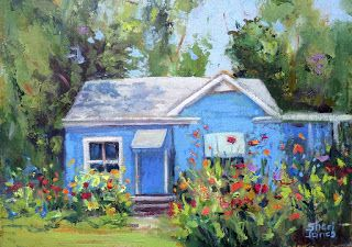 Happy Blue House, Contemporary Landscape Painting by Sheri Jones