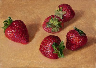 Strawberries still life oil painting fruit daily painting a day