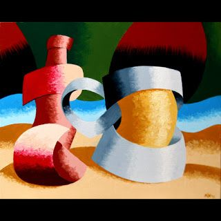 Mark Webster - Abstract Geometric Beer Mug and Bottle Oil Painting