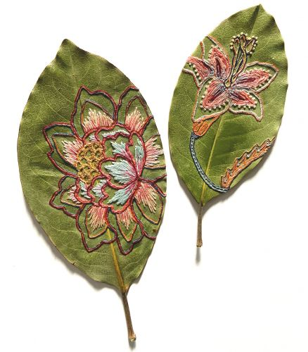 Vibrant Botanic Embroideries Embellish the Dried Leaf Sculptures of Hillary Waters Fayle
