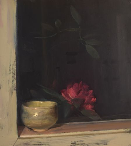 Tea Bowl on a Sill at Night with Rhododendron