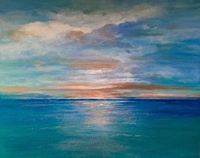 """Contemporary Ocean Abstract ,Seascape,Sunset """"Sunset Over Catalina"""" by California Artist, Cecelia Catherine Rappaport"""