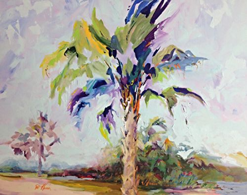 "Palm Tree Coastal Landscape Painting ""Summer Palm"" by Georgia Artist Pat Warren"