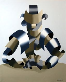 Mark Webster - Man of the Future Playing Poker - Abstract Futurist Figurative Painting