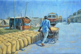 Peanut seller painting in oil 23'' by 16''