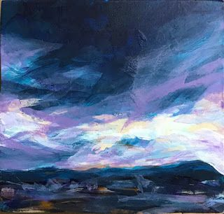 "DARK AS INK - 4"" x 4"" acrylic landscape by Susan Roden"