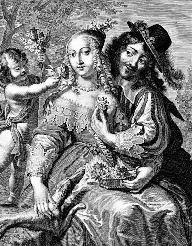 A Lover presents a fragrant Rose to a Woman by Jeremiasz Flack (160 -1677) engraver