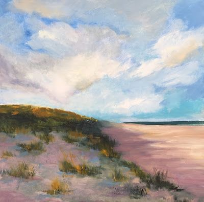 """Beach and Ocean Paintings, """"Shadowed Sand Dune,"""" by Amy Whitehouse"""