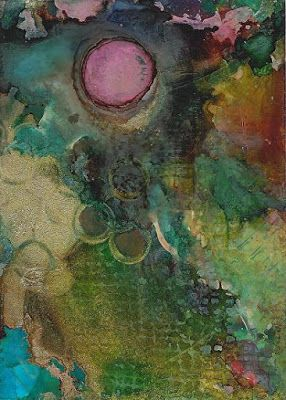 "Contemporary Abstract Painting, Alcohol Ink ""Sweet Thing"" by New Orleans Artist Lou Jordan"