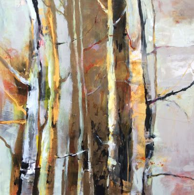 """Abstract Aspen Tree Landscape Painting """"Converging"""" by Intuitive Artist Joan Fullerton"""
