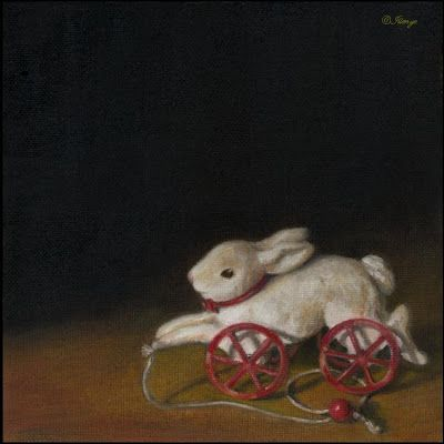 Vintage white bunny pull toy oil painting still life 8x8 in