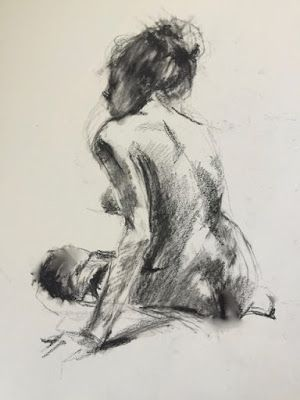 A Quick Life Drawing - original charcoal life drawing