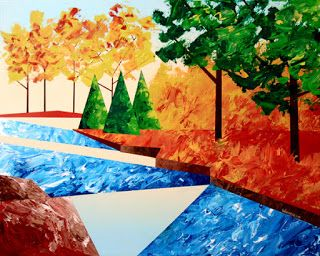 Mark Webster - Abstract Autumn River Landscape Acrylic Painting