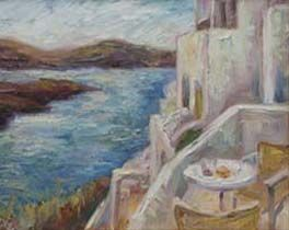 """Table for Two"" from Santorini by Contemporary Impressionist Niki Gulley"