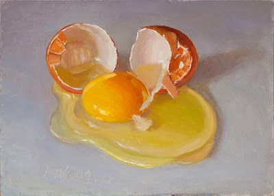 A cracked egg still life painting a day food painting small original