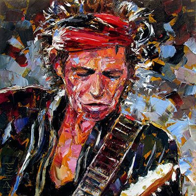 "Palette Knife Musician Art Portrait Oil Painting,Rolling Stones, ""Keith Richards Portrait"" by Texas Artist Debra Hurd"
